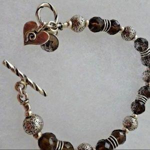 Silpada Silver Smoky Quartz Heart Charm Bracelet